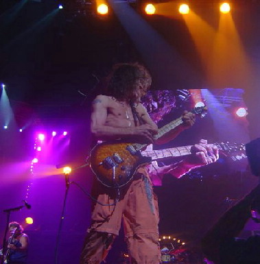 Edward Van Halen with a first year quilt top Wolfgang on the 2004 tour